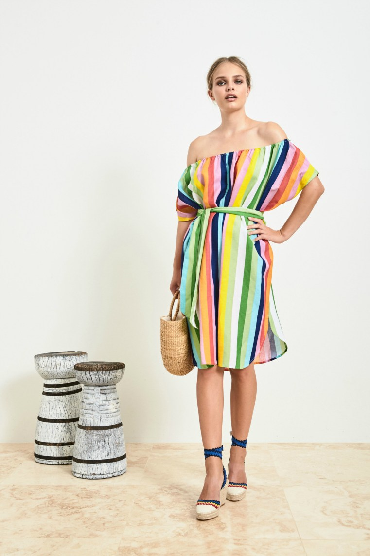 Frankie + Dash rainbow stripe mini kaftan