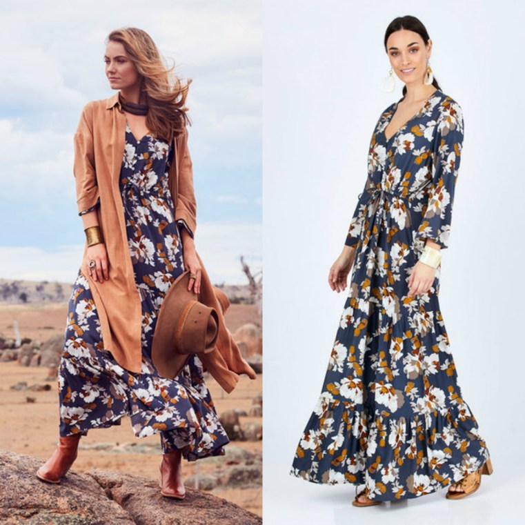 Boho Bird Winter Bloom Maxi dress