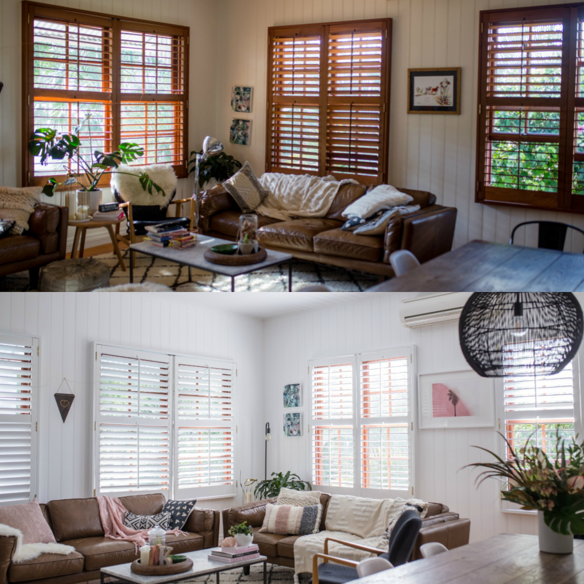 British Paints Living Room white makeover BEFORE and AFTER