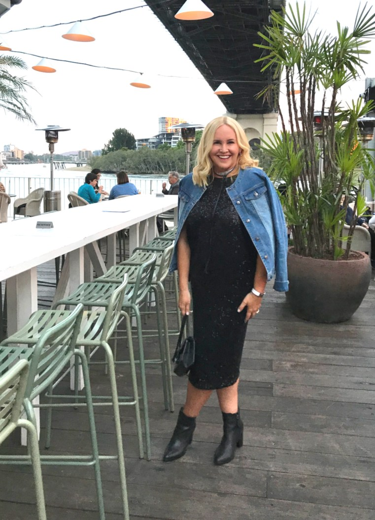 Sacha Drake sequin dress Styling You The Label denim jacket FRANKiE4 Footwear boots