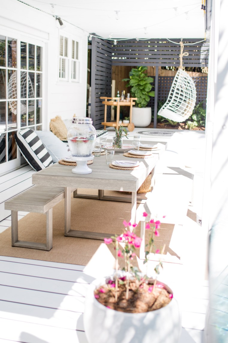 West Elm Australia outdoor table and bench seats | The Showroom Collection outdoor rug
