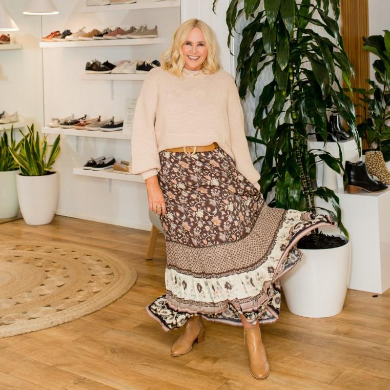 Bohemian Traders knit | Clinch belt | Spell skirt | FRANKiE4 Footwear boots