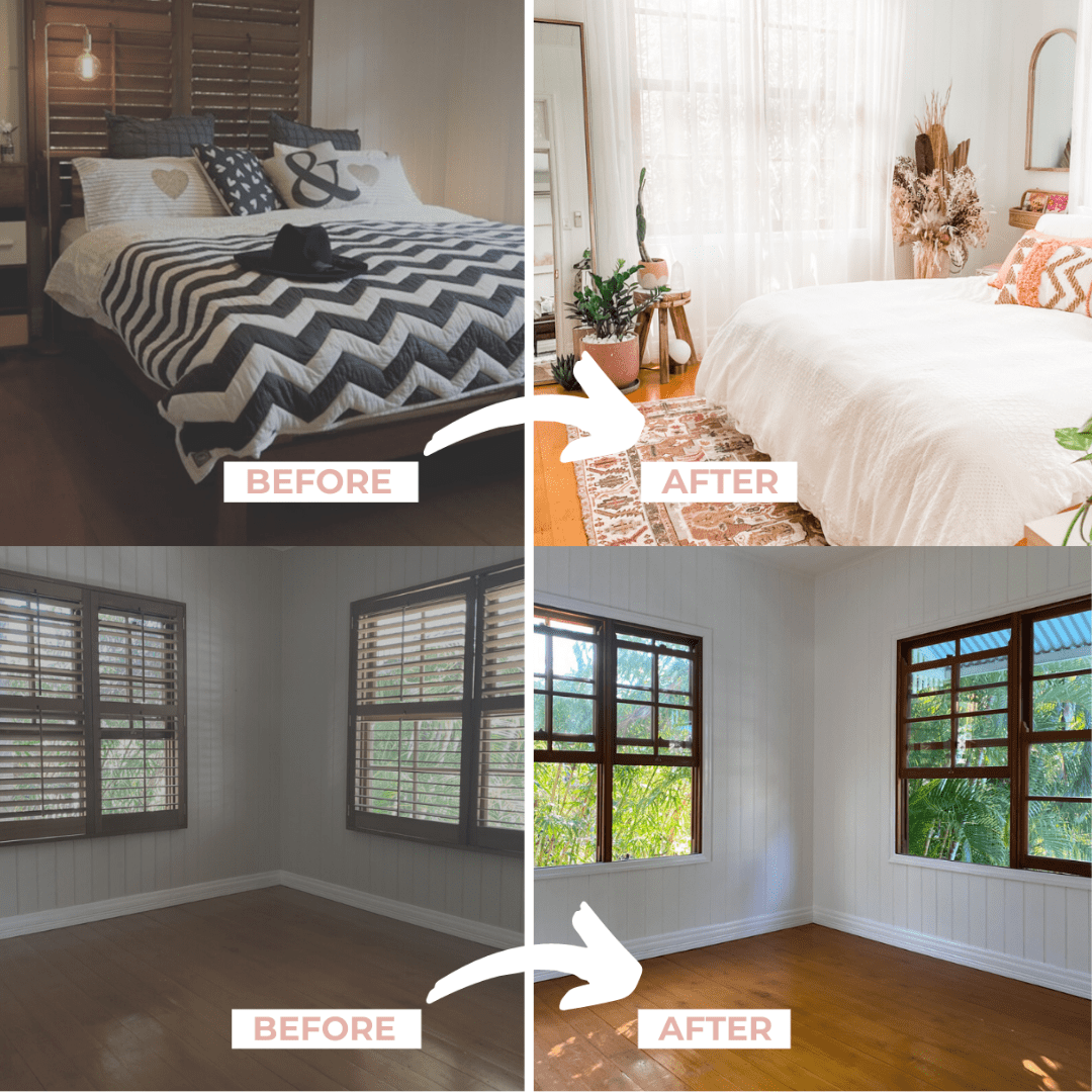 Before and after boho bedroom makeover