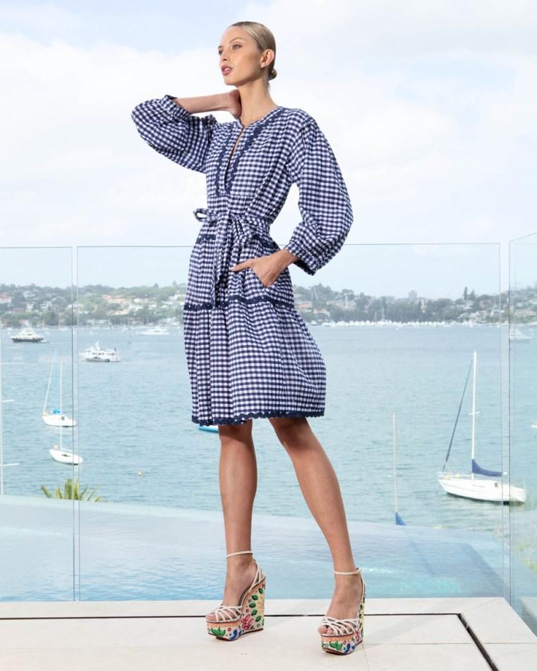 Lola Australia Monroe Lake dress in yacht gingham navy