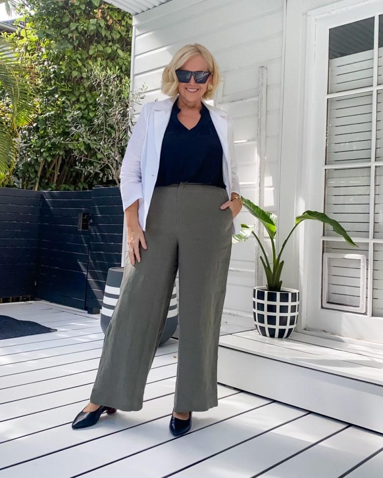 Styling You The Label white linen blazer and black sleeveless top | Regular Threads linen pants | FRANKiE4 Footwear heels