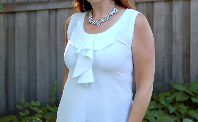 Wardrobe staple – white top with a flounce