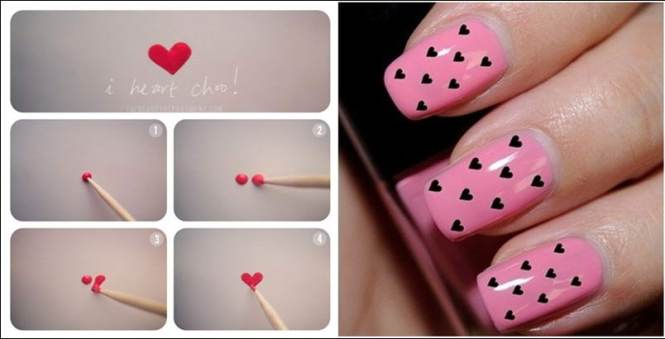 Original Diy Heart Nail Art For A Valentine S Day