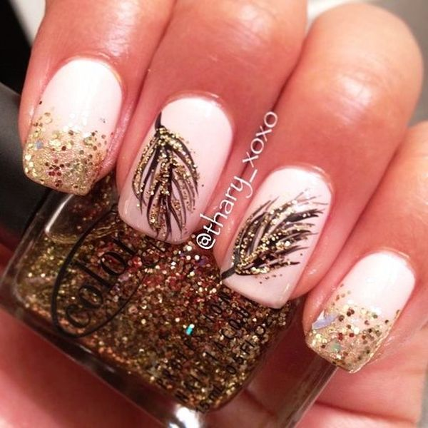 In This Way You Can Make Variety Of Binations To Have A Perfect Feather Nail Art