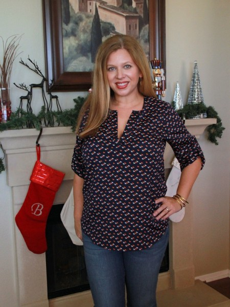 Stitch Fix December 2016 Review - Market & Spruce Ivy Split Neck Print Blouse #stitchfix #fashion #style