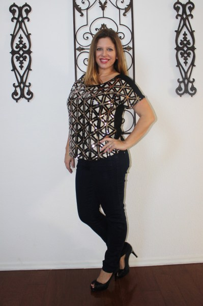 stitch fix january Skies are Blue Suri Sequin Embellished Knit Top and Liverpool Shania Stitched Detail Jean