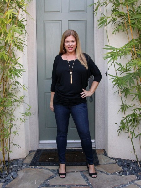 Stitch Fix January 2017 Review - 41Hawthorn Queensland Dolman Jersey Top and Level 99 Shauna Skinny Jean #stitchfix #fashion #style