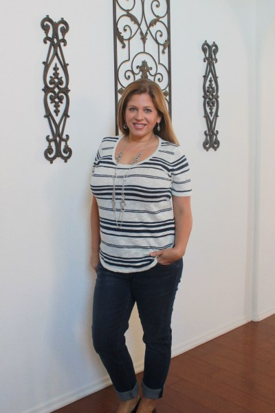 stitch fix december 2015 review Mo:Vint Barden Short Sleeve Sweater Knit & Kut From the Kloth Kate Boyfriend Jean
