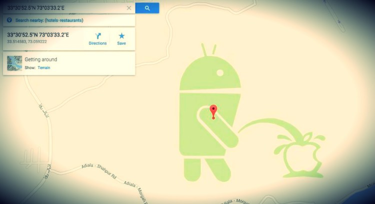 Google Map Maker: Android robot urinating on the Apple