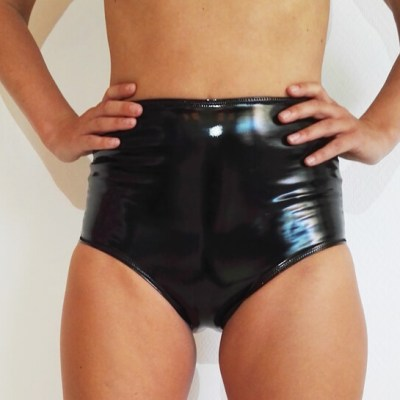 LADY LATEX SHORT_black_POLEDANCE WEAR_STYLOSCOPE_front