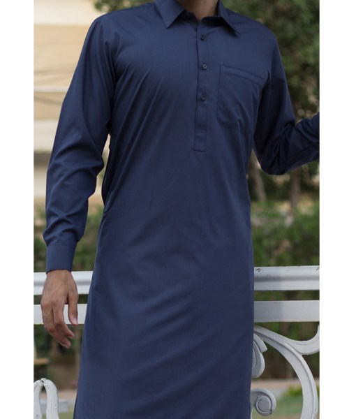 Shalwar Kameez Navy-Blue Wash n Wear Shirt Collar