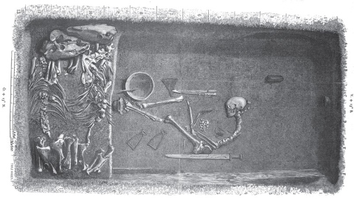 This is how the grave on Birka might have looked like where the female warrior was buried. Illustration by Evald Hansen based on the original plan of grave Bj 581 from Hjalmar Stolpe's excavations at Birka in the late 19th century. (Stolpe 1889)