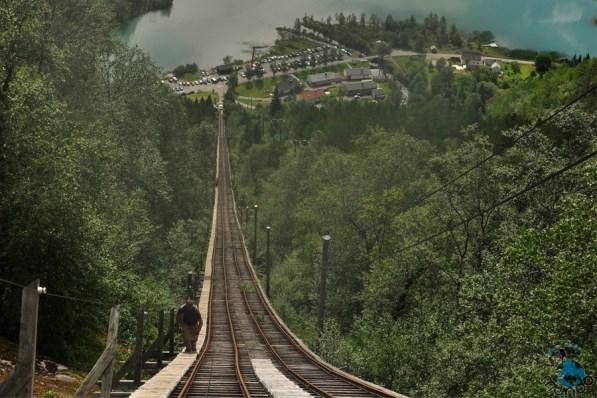 Vista do caminho pelo trilho do funicular.