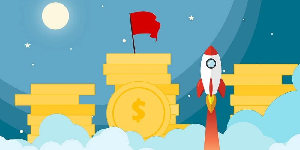 Foguete subindo em meio à montes de moedas, indicando que essa rotina de 20 minutos pode fazer a vida financeira de qualquer um decolar.