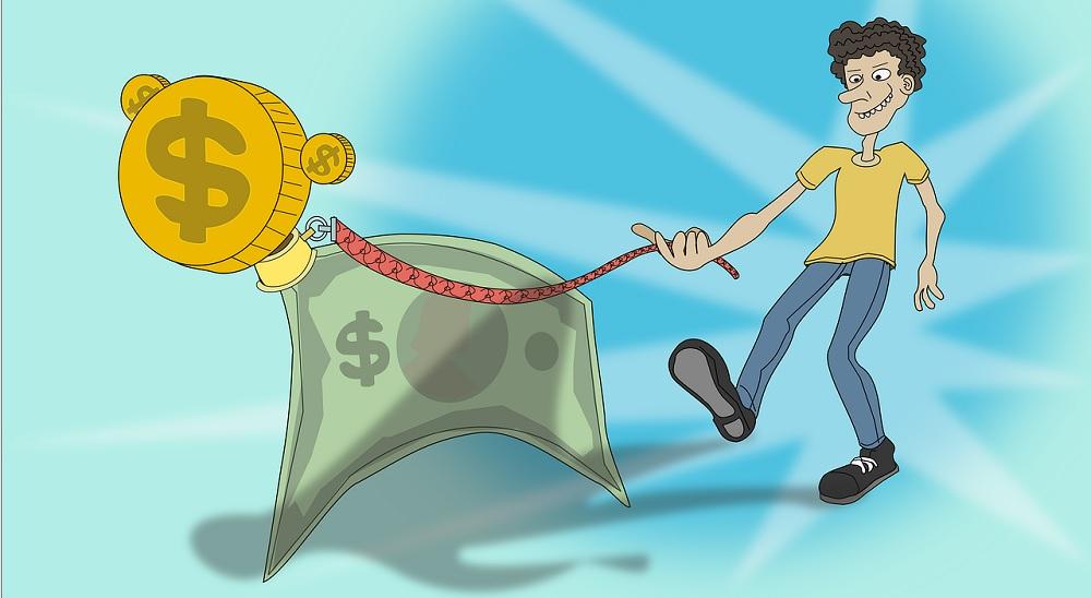 Um rapaz levando seu dinheiro pra passear, indicando que ele tem controle sobre suas finanças pessoais.