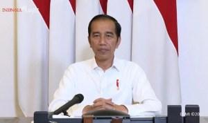 Presiden Jokowi saat melakukan telekonference melalui aku YouTube Seskab