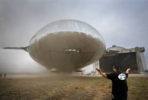 Massive experimental airship hovers in test flight, but wind