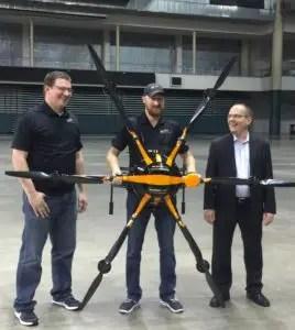 Left to right:  Matt Denlevy, CEO SkySkopes, Andy Schill, SkySkopes pilot, and Tero Heinonen, CEO SharperShape.