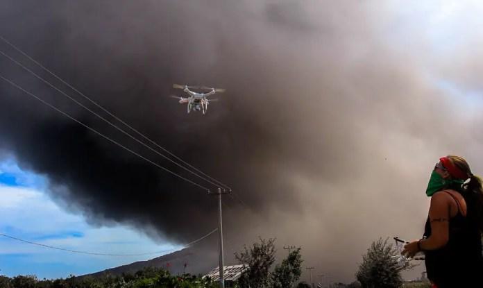Rhianna Lakin flying phantom near volcano