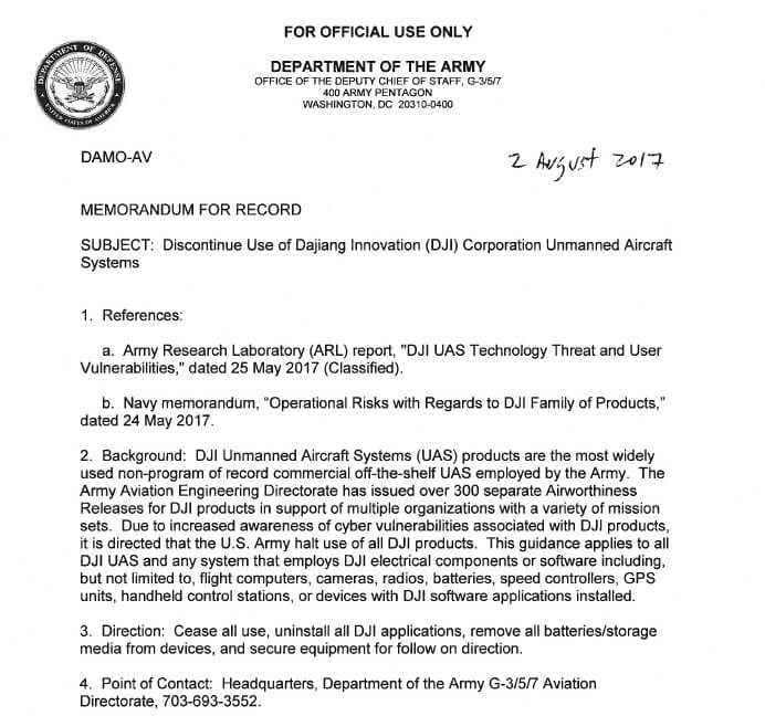 Army Memo | Us Army Calls For Units To Discontinue Use Of Dji Equipment Suas