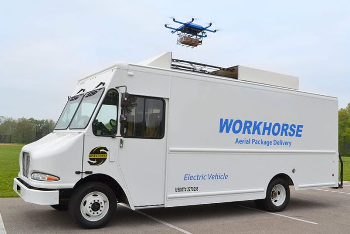 Workhorse white truck and drone