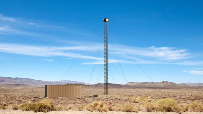 blighter a800 3d drone detection radar on tower in desert