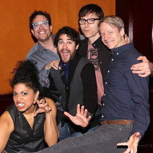 From L-R, Rebecca Naomi Jones, Dir. Michael Mayer, Darren Criss (Hedwig), Stephen Trask, John Cameron Mitchell