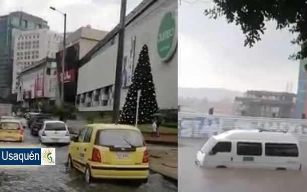 Impresionante aguacero que cayó en Usaquén, norte de Bogotá este miércoles