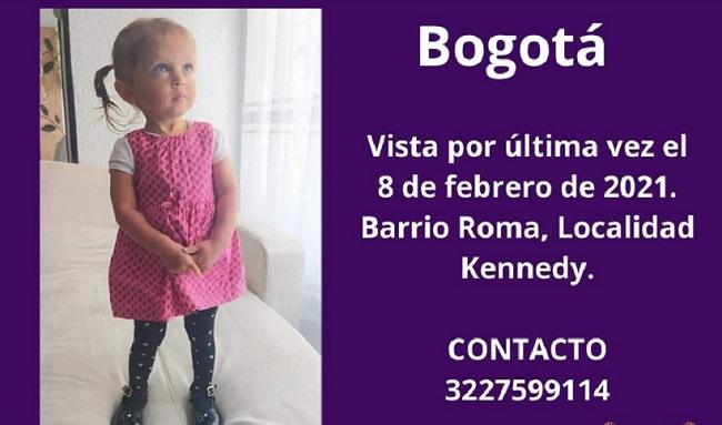 Capturada en Bogotá pareja por presunta desaparición de Sara Sofía Galván