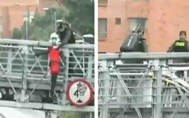 Muñecos que amanecieron colgados en un puente en Suba generaron pánico en la comunidad
