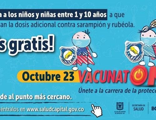 Este 23 de octubre hay vacunatón contra sarampión y rubéola en Bogotá ¡Asiste!