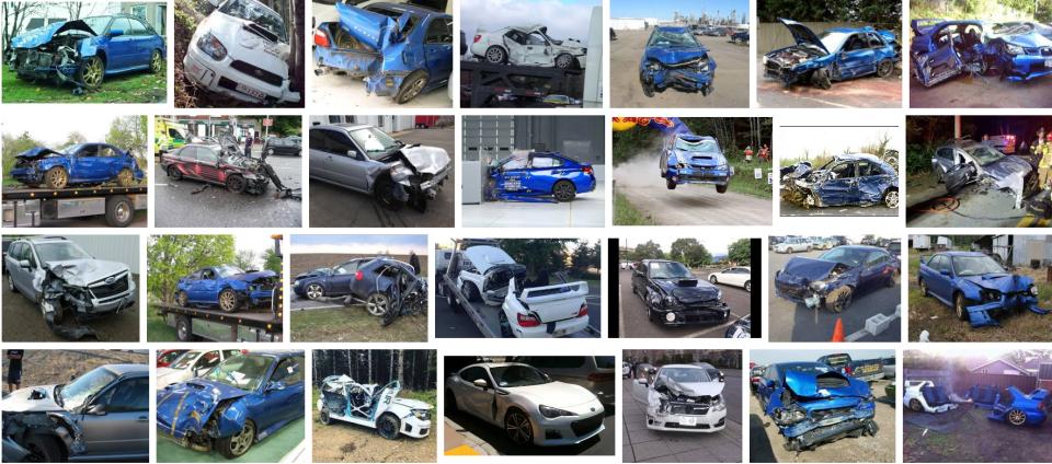 Crashed Subaru's