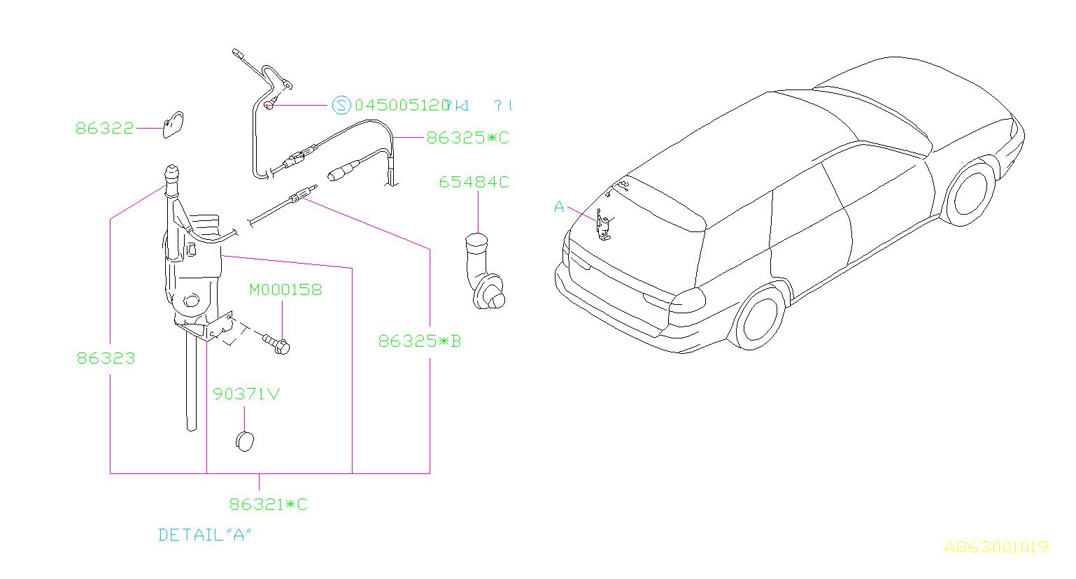 Subaru Legacy Cord Assembly Antenna Feeder Electrical