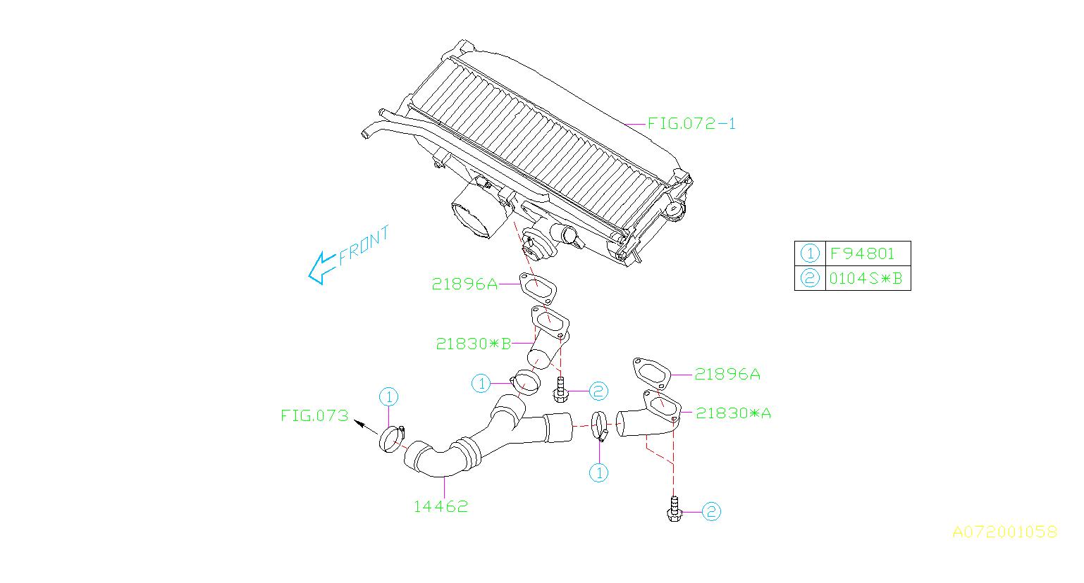Subaru Baja Duct Inter Cooler Air System Engine