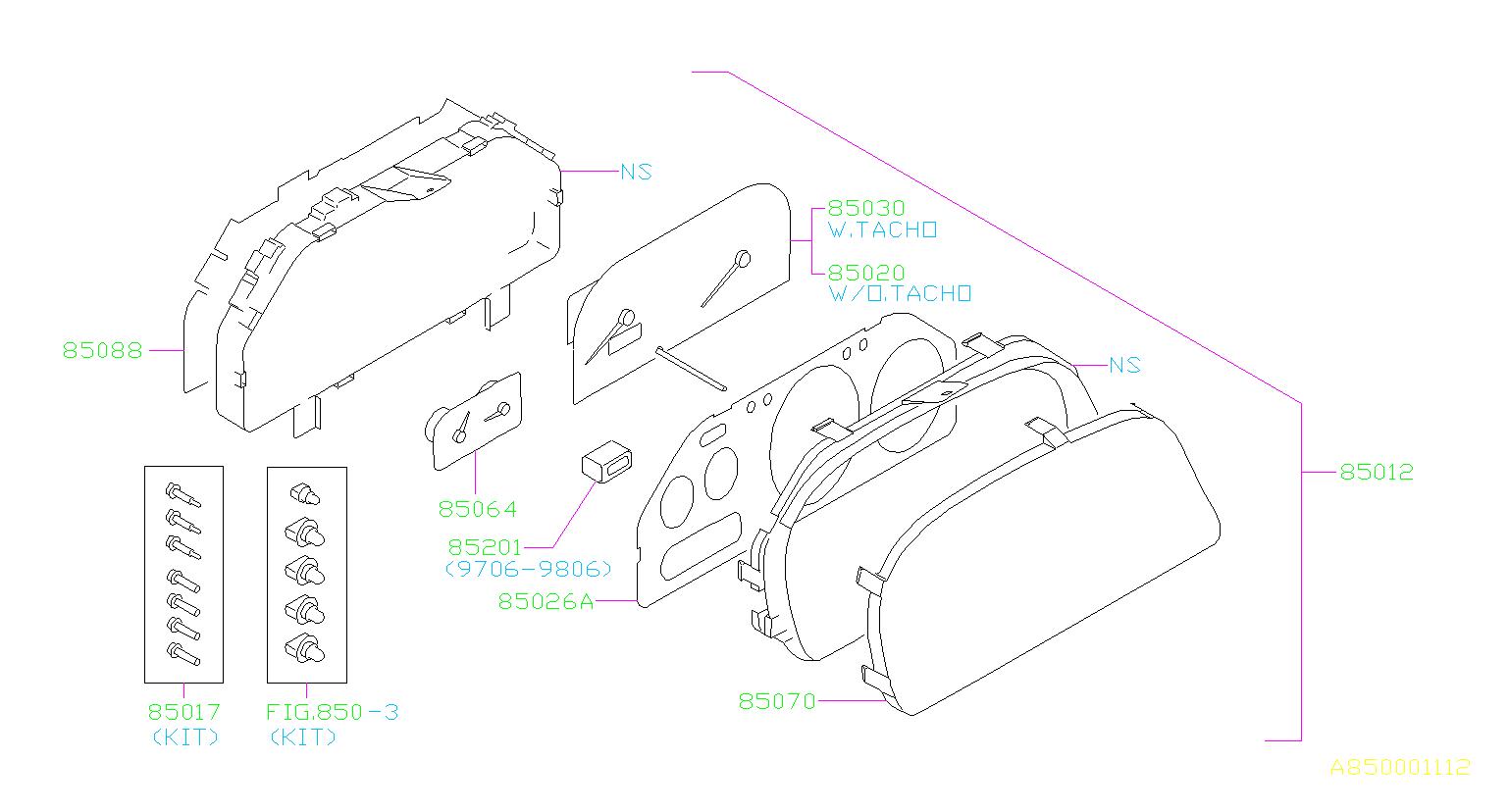 Subaru Impreza Instrument Panel Lens Meter Mask