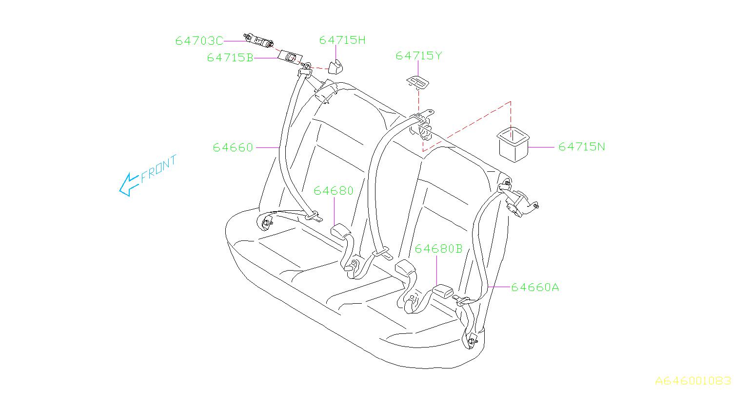 Subaru Wrx Seat Belt Center Left Rear Interior