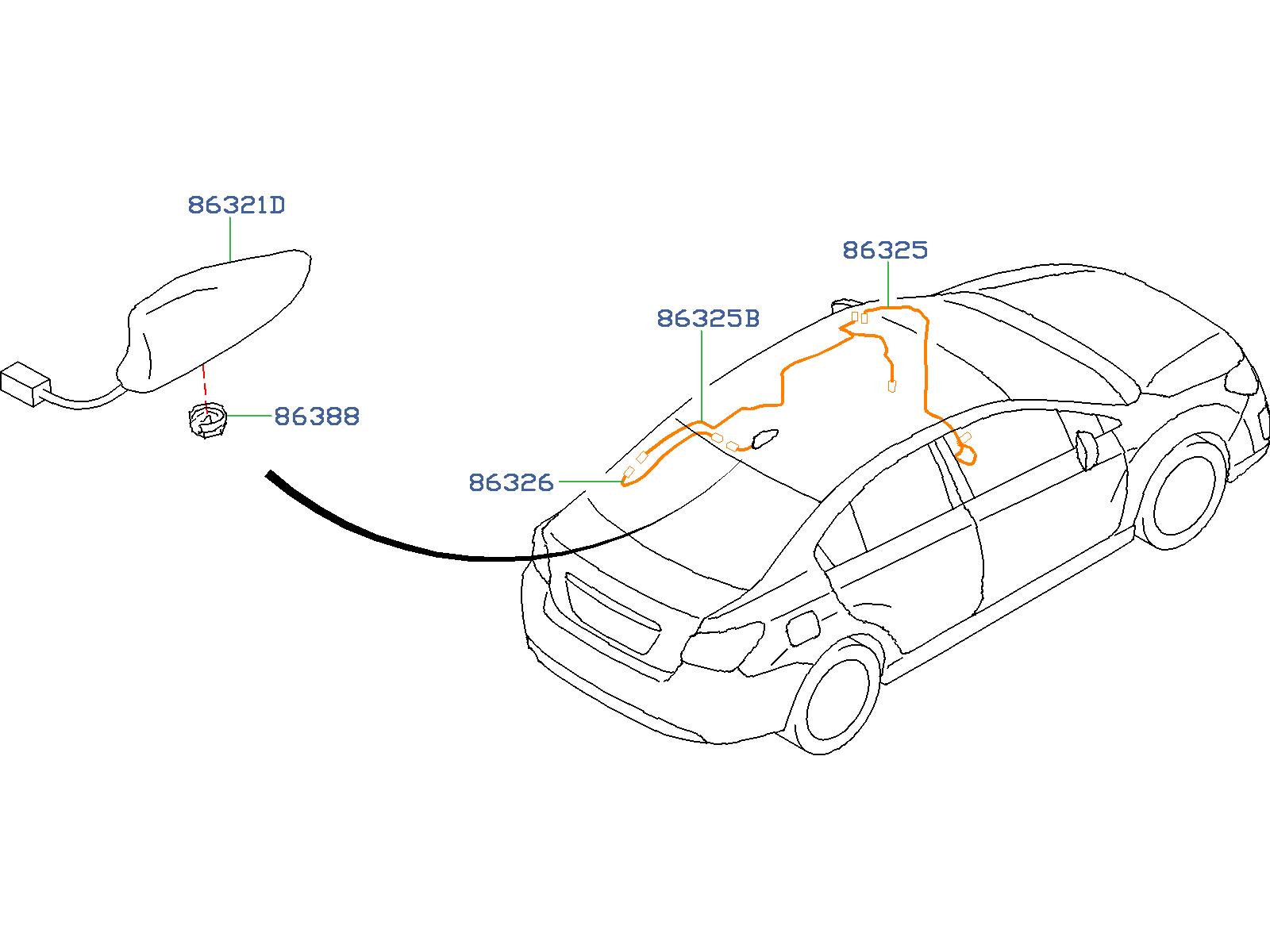 Subaru Impreza Antenna Cable Feeder Cord Antenna Audio