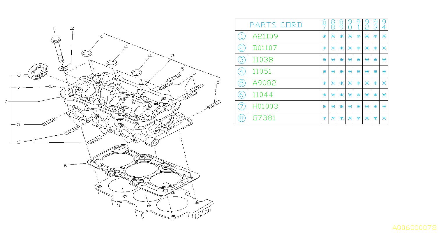 Subaru Justy Washer Cylinder Head Engine Cooling
