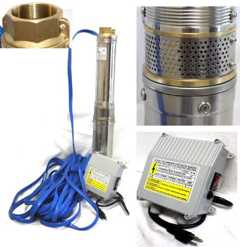 "1.5HP 4"" Stainless Steel Deep Bore Multistage Submersible Well Pump 115V 17.5GPM"