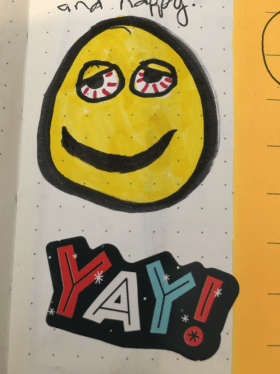 A crude sketch of a yellow smilie face with blood shot eyes.