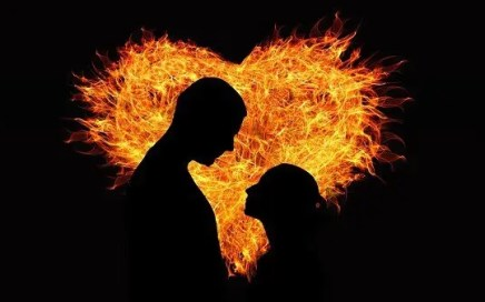 fire and heat = couple in front of fire