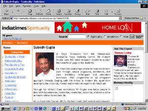 Yoga Instructor Subodh Gupta featured on Indiatimes Portal