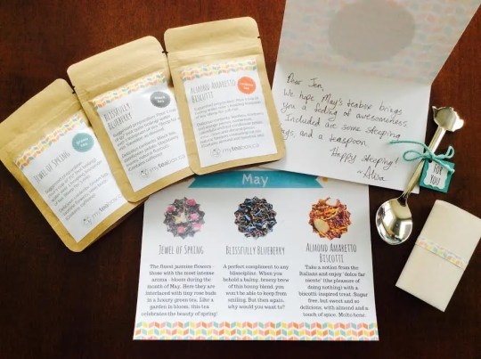 My tea box canada monthly subscription box may 2016 jewel of spring almond amaretto biscotti blissfully blueberry teas note card information tea card steeped tea bags teapot teaspoon
