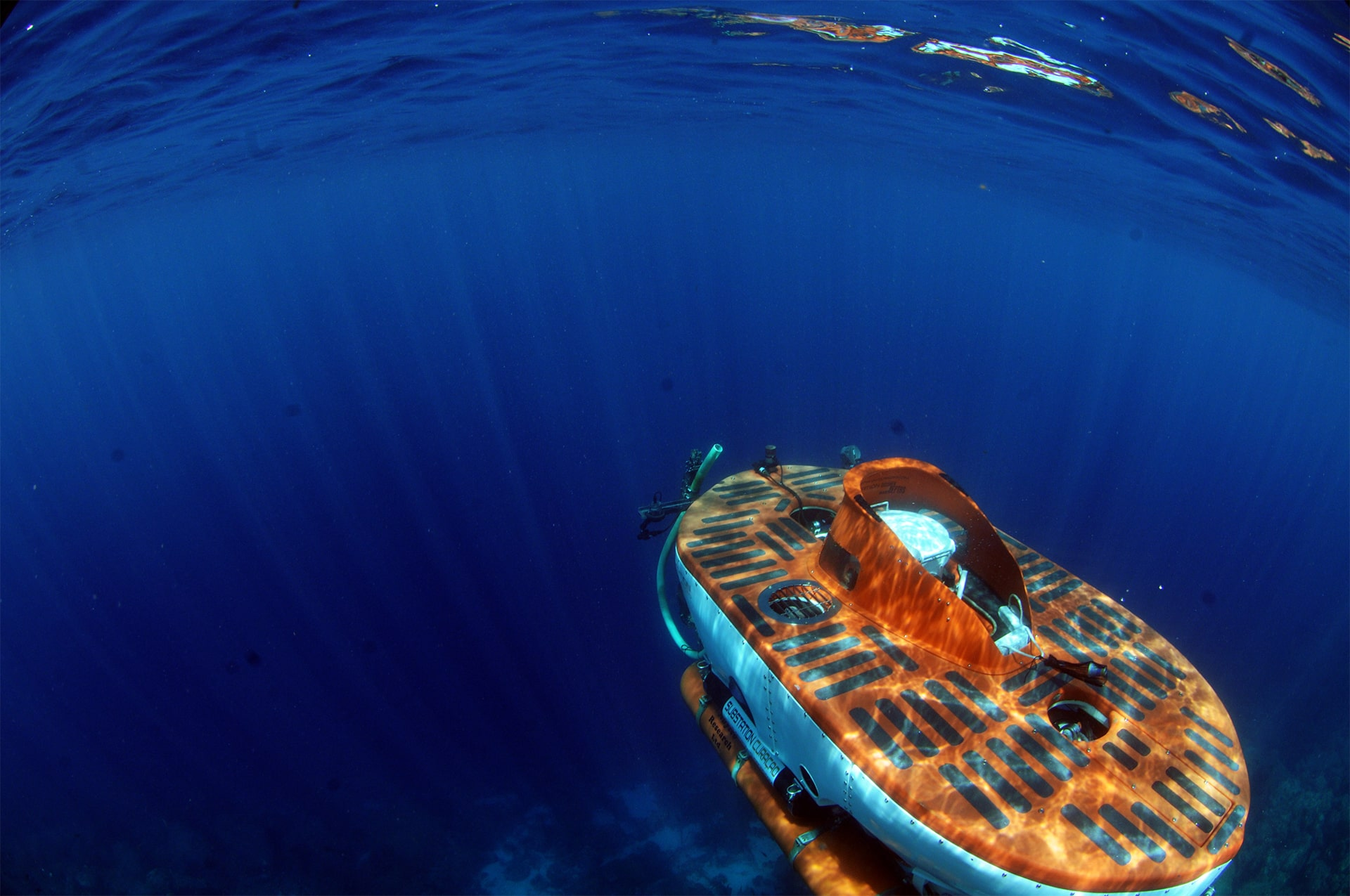 Submarine curasub, classified for 1000 feet capacity of 5 people with viewing windows in the deep sea of Curaçao.