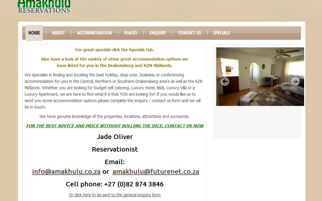 Amakhulu Reservations Website