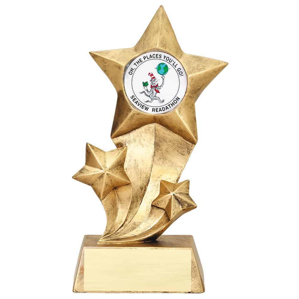 3 Star Mylar Resin Trophy
